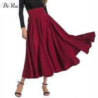 DeRuiLaDy 2018 Spring Autumn Women Black Blue Maxi Skirt Vintage Retro High Waist Pleated Belted Long