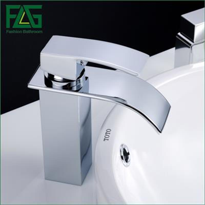 FLG WaterfallFaucet in the bathroom for basin sink brass mixer tap modern Bathroom Faucet Cold Hot &