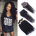 Brazilian Deep Wave 4 Bundles With Closure 7A Unprocessed Brazilian Virgin Hair Weave Bundles With Lace Closure Human Hair Weave