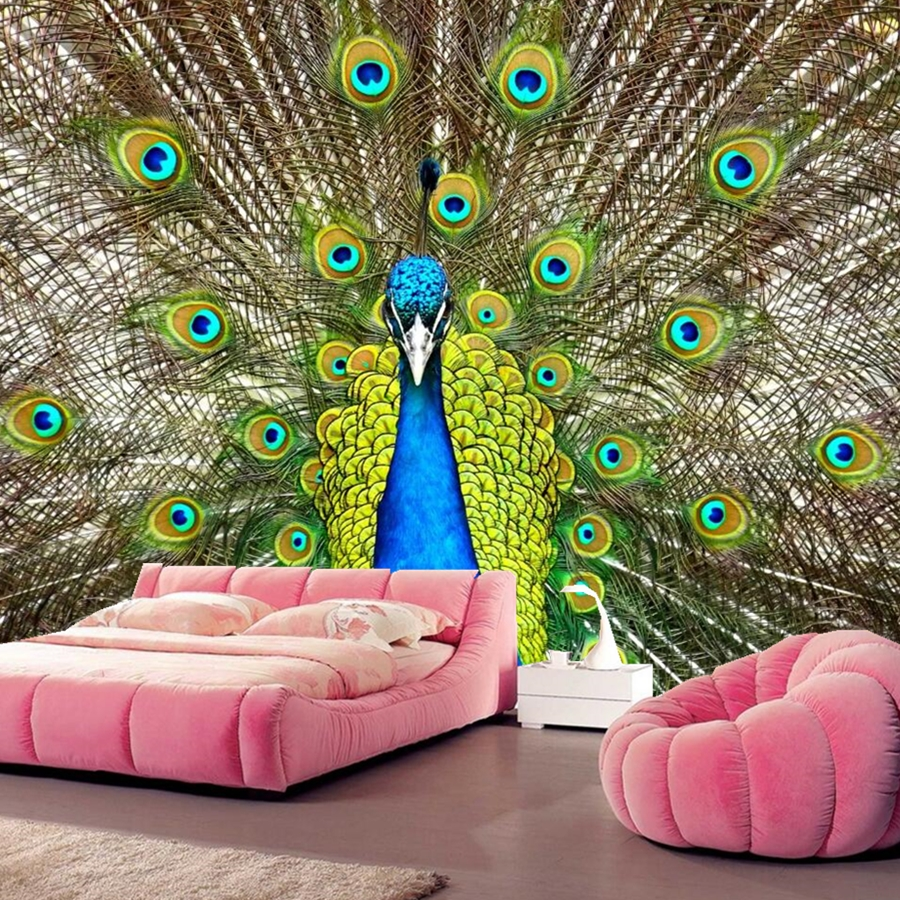 Custom mural papel de parede,Birds Peacocks Animals wallpapers,coffee shop living room sofa TV wall bedroom 3d wallpaper недорого