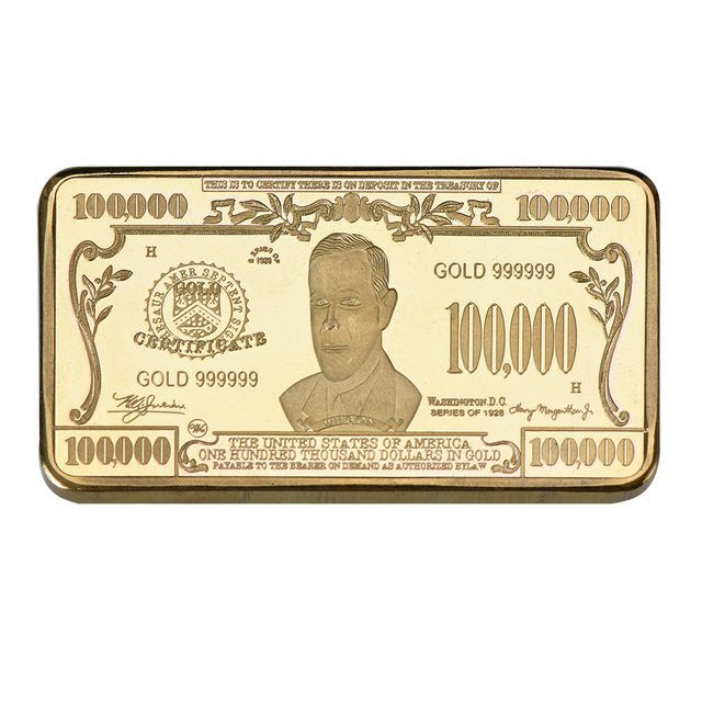 WR 100 Thousand 24k Gold Banknote Bar Collectible US World Paper Money Metal Bars Unique