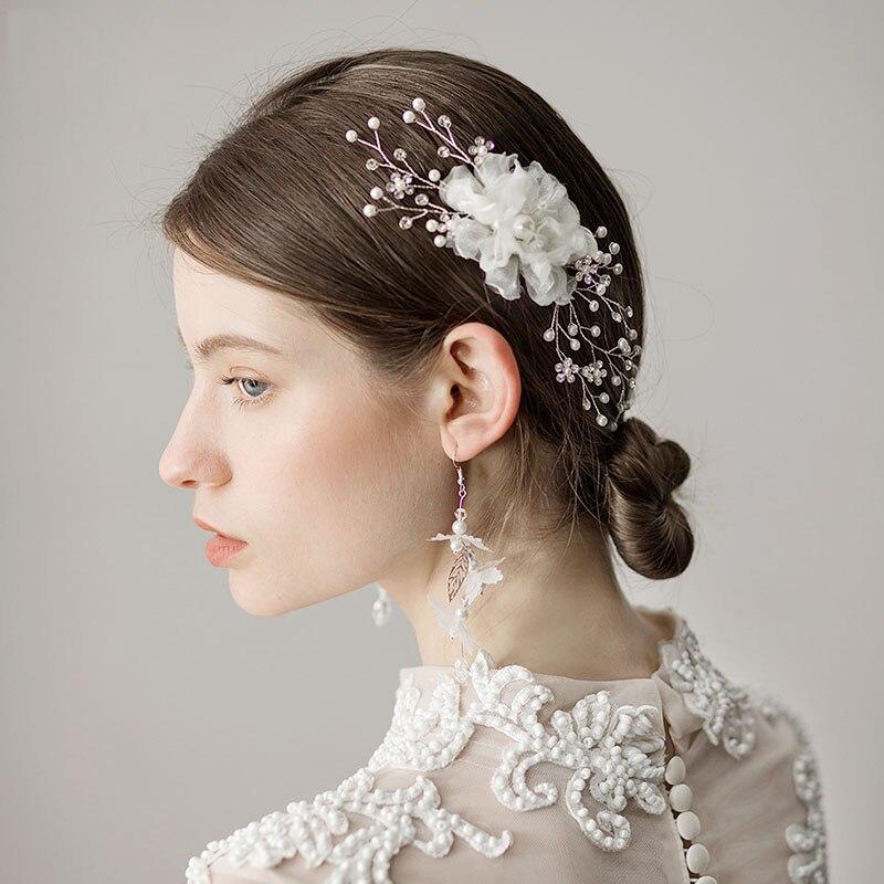 white hair comb yarn flower bridal