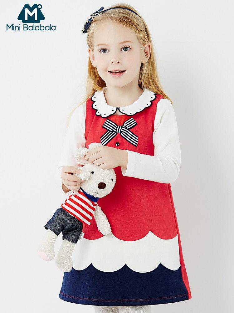 Mini Balabala Kids Cotton T-shirt Long Sleeve Shirt Top Children Toddler Girls Spring Autumn Shirt Tees with Peter Pan Collar