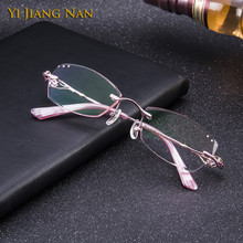 Yi Jiang Nan Brand Diamond Trimmed Rimless Titanium Eyeglasses Women Fashion Pink Glasses with Tint Lenses