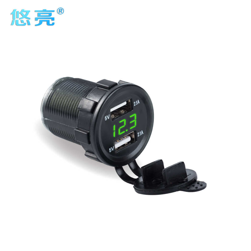 Cylindrical Style Dual USB Car Charger Multifunction LED Display 5V 4.2A Refit Dual USB Phone Car Charger With Digital Voltmeter