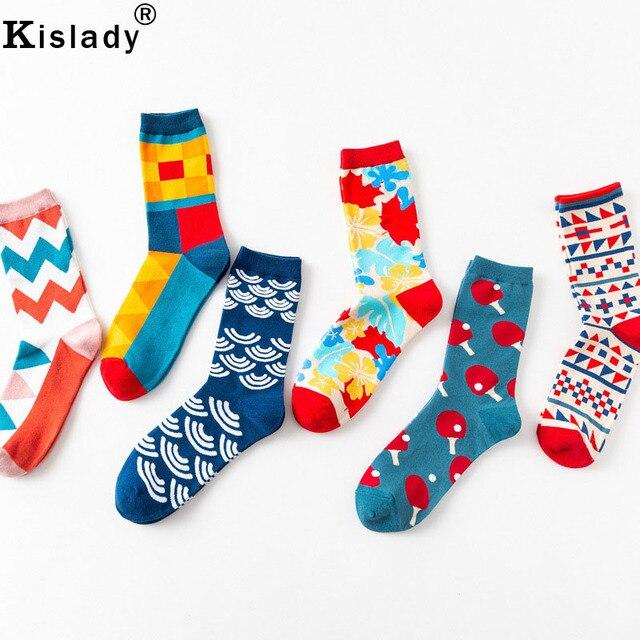 a1148d871 2019 Autumn Winter British Style Men's Colorful Socks Women's Fashion  Streetwear Socks Personality Leggings Cotton Art Socks