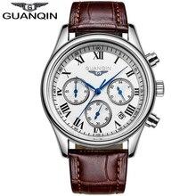 GUANQIN Mode Mens Montres Chronographe et 24 Heures Fonction Hommes D'affaires Quartz Montres relogio masculino