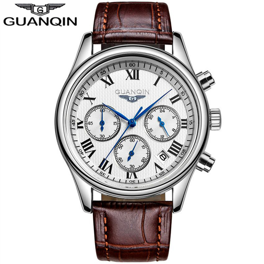 GUANQIN Fashion Mens font b Watches b font Chronograph 24 Hours Function Men Business Water Resistant