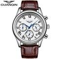 Guanqin homens da moda relógios chronograph & 24 horas função resistente à água dos homens de negócios de quartzo relógios de pulso relogio masculino