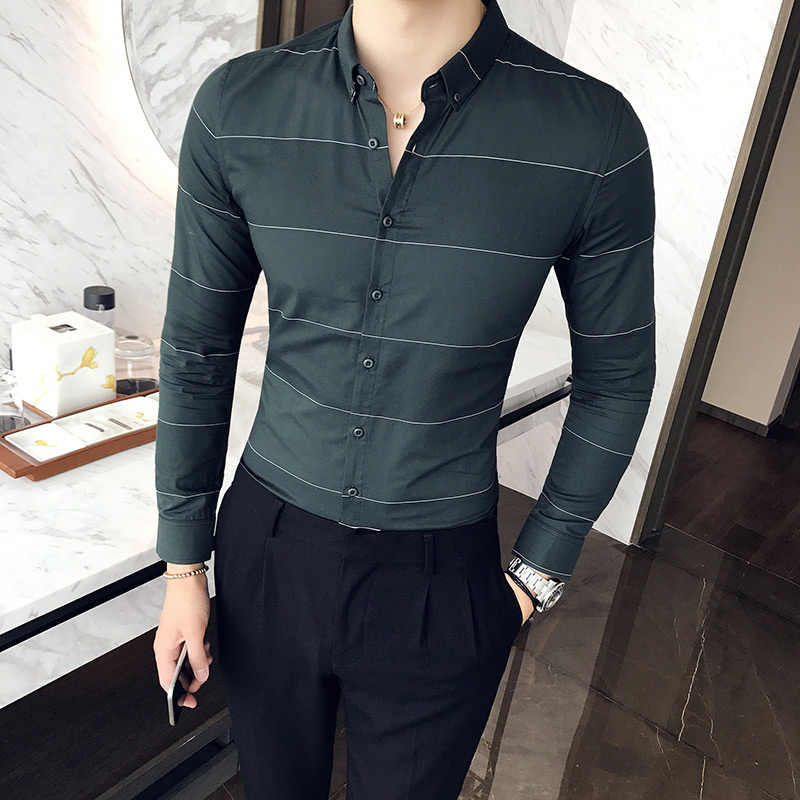 a6b4b79c4d43 2018 autumn and winter high-quality business casual striped gentleman long-sleeved  shirt fashion