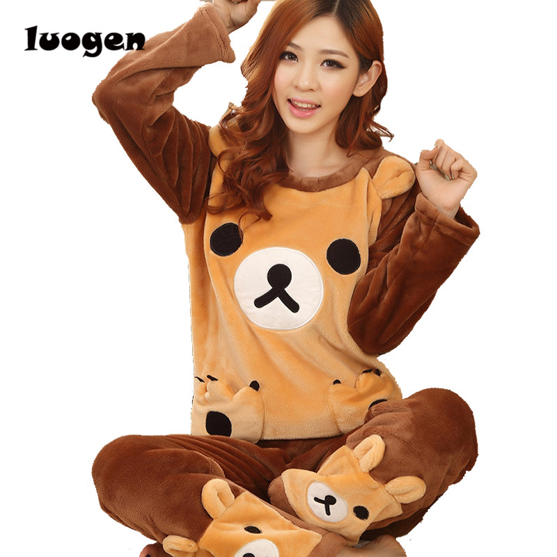 Adult Women kawaii Rilakkuma Flannel Pajama Suit Sets Cartoon Bear Animal Thick Bundle Plush Pijama Costume Nightgown Sleepsuit