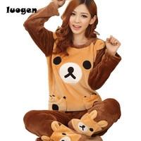 Adult Women Kawaii Rilakkuma Flannel Pajama Suit Sets Cartoon Bear Animal Thick Bundle Plush Pijama Costume
