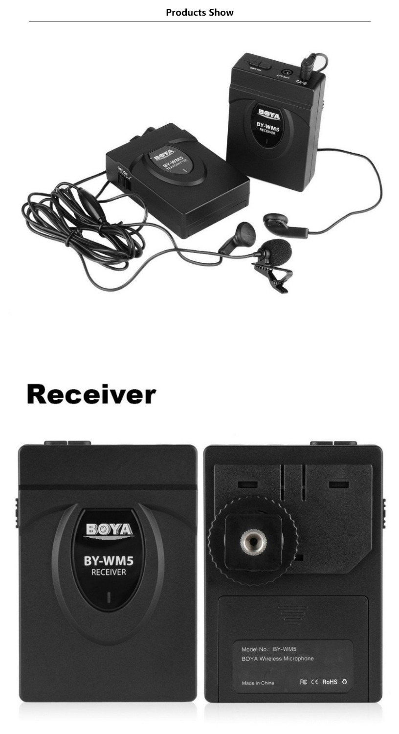 BY-WM5 2.4GHz Wireless Lavalier Microphone System w Integrated 164 foot Range Antenna Transmitter, Receiver, Lavalier