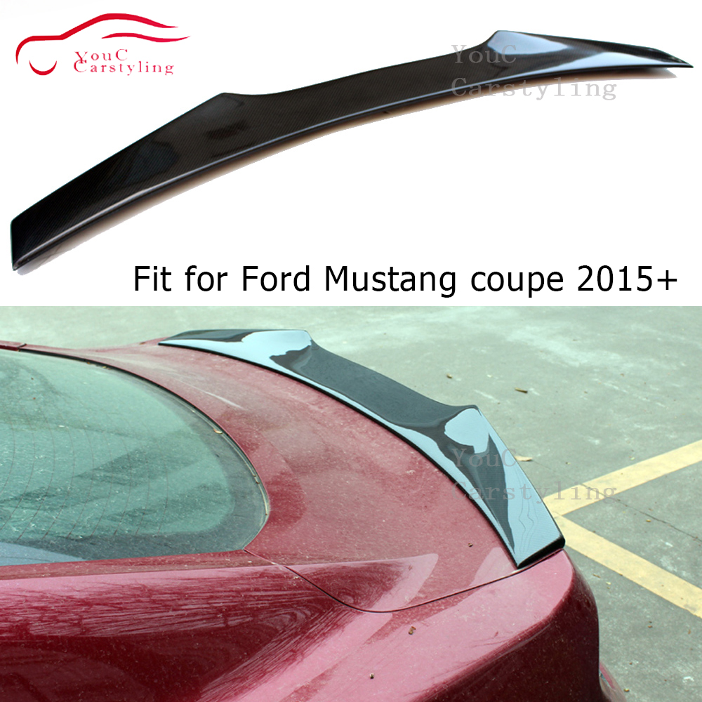 RDX Style Carbon Fiber Rear <font><b>Spoiler</b></font> Trunk Wing for Ford <font><b>Mustang</b></font> 2-door Coupe <font><b>2015</b></font> + Rear Trunk Boot Lip Tail <font><b>Spoiler</b></font> image