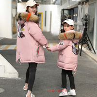 Teenage Girls Winter Down Jackets 12 14 16 year with Real Fur Hooded Snow Jackets Baby Girl Outerwear Warm Girls Winter coat