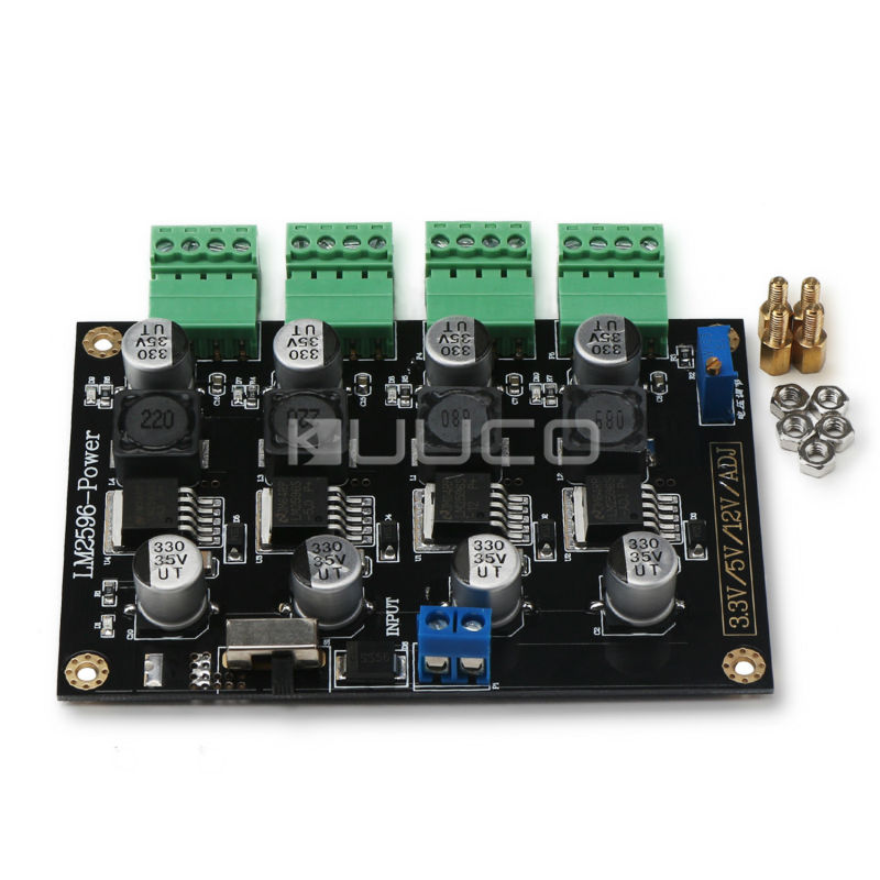 LM2596 Multiple Output Power Supply Module DC 5~40V to 3.3V 5V 12V ADJ 4-way Buck Converter/Voltage Regulator/Adapter/Driver lm2596 multiple output power supply module dc 5 40v to 3 3v 5v 12v adj 4 way buck converter voltage regulator adapter driver