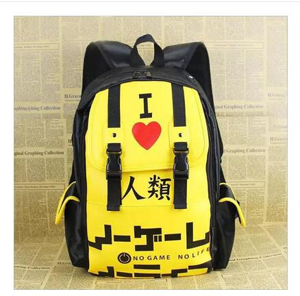 High Q ANIME NO GAME NO LIFE school bag Men womens backpack student school bag Notebook backpack Daily backpack