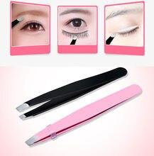 New Eyebrow Tweezers Hair Removal Stainless Steel Slant Tip Eyebrow Makeup Tool