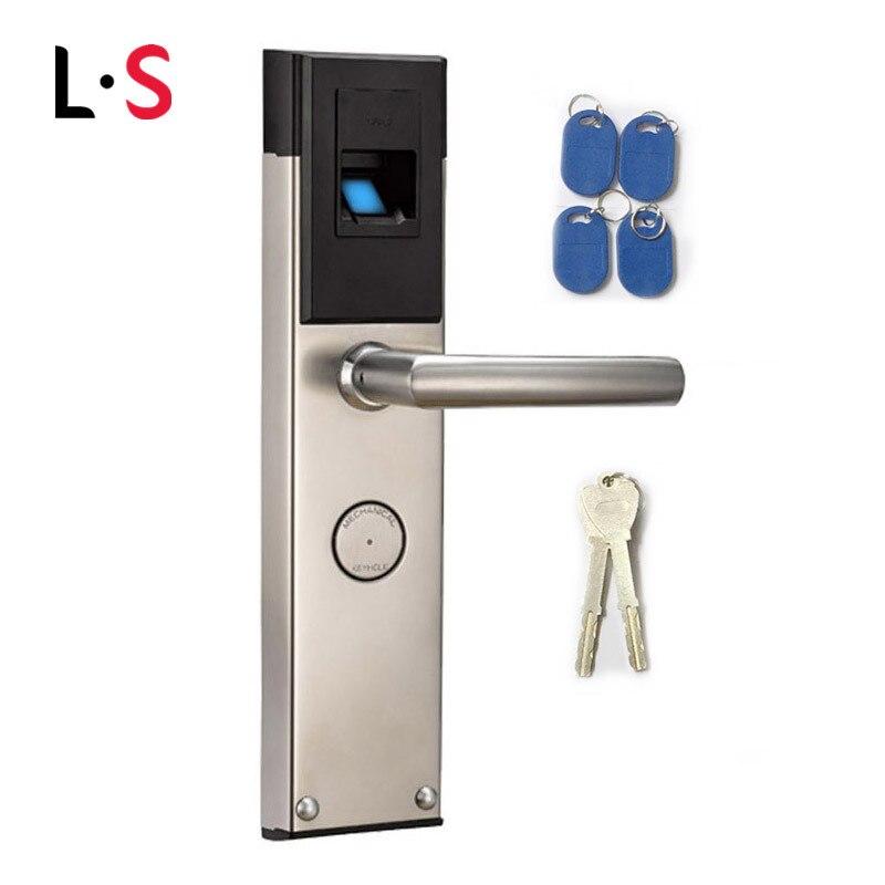 Biometric Electronic Smart Door Lock Fingerprint+4 Cards+ 2 Mechanical Keys Keyless Lock Smart Entry L&S L16088BS