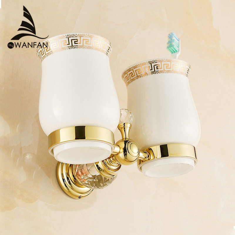 Cup & Tumbler Holders Crystal Brass Ceramic Cup Bathroom Accessories Gold Double Tumbler Holders Toothbrush Cup Holders HK-32 cup & tumbler holders glass cup brass antique toothbrush cup holder set luxury bathroom accessories wall tumbler holders 10703f