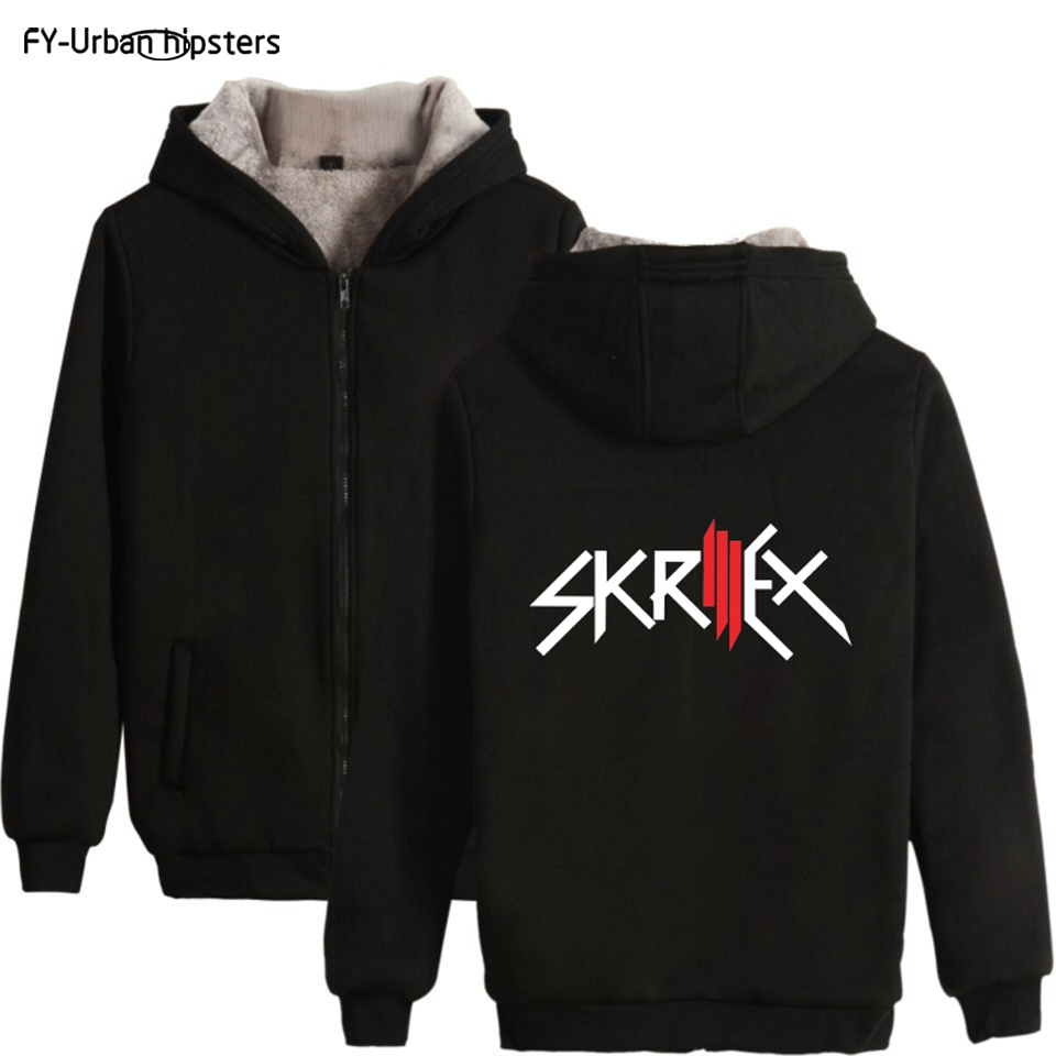 FY-Urban hipster big size 4xl DJ Singer <font><b>Skrillex</b></font> and Jack U fashion hooded long sleeve warm thick <font><b>hoodies</b></font> sweatshirt with zipper image