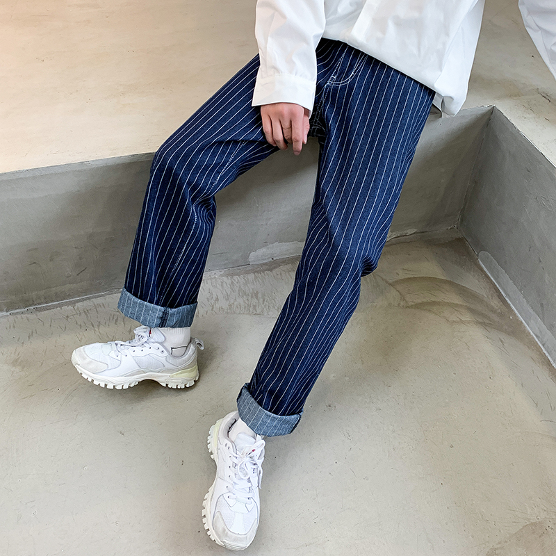 2019 Autumn And Winter New Korean Men's College Style Literary Personality Stripes Wild Retro Loose Straight Wide Leg Jeans