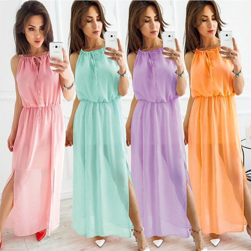 Dresses 2018 Summer Chiffon Dress Women Boho Long Beach Dresses Tunic High Neck Halter Bow Sundress Elegant Party Chiffon Dress