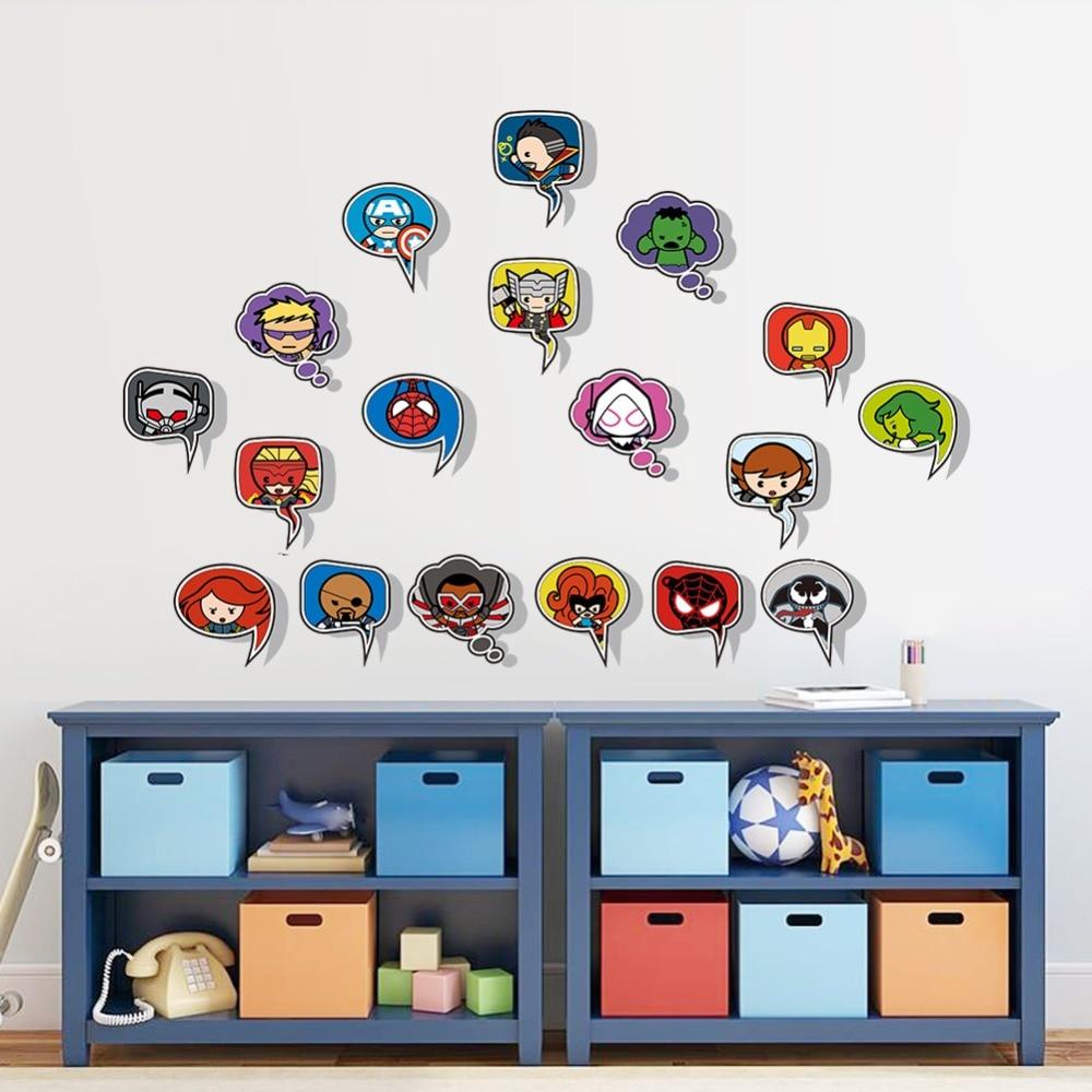 Doll Iron Man AVENGERS Captain Spiderman Cartoon Movie Hero Home Decal Kids  Room DIY 18 Cross Pang Wall Stickers Decor