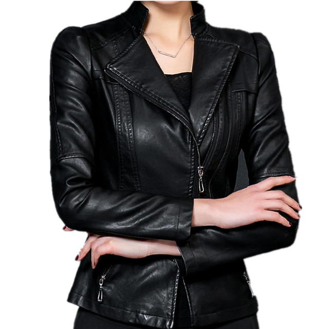 f6637a5347a Plus Size 4XL 5XL Women PU Leather Jacket 2017 Spring Jackets Zipper Black  Faux Leather Bomber