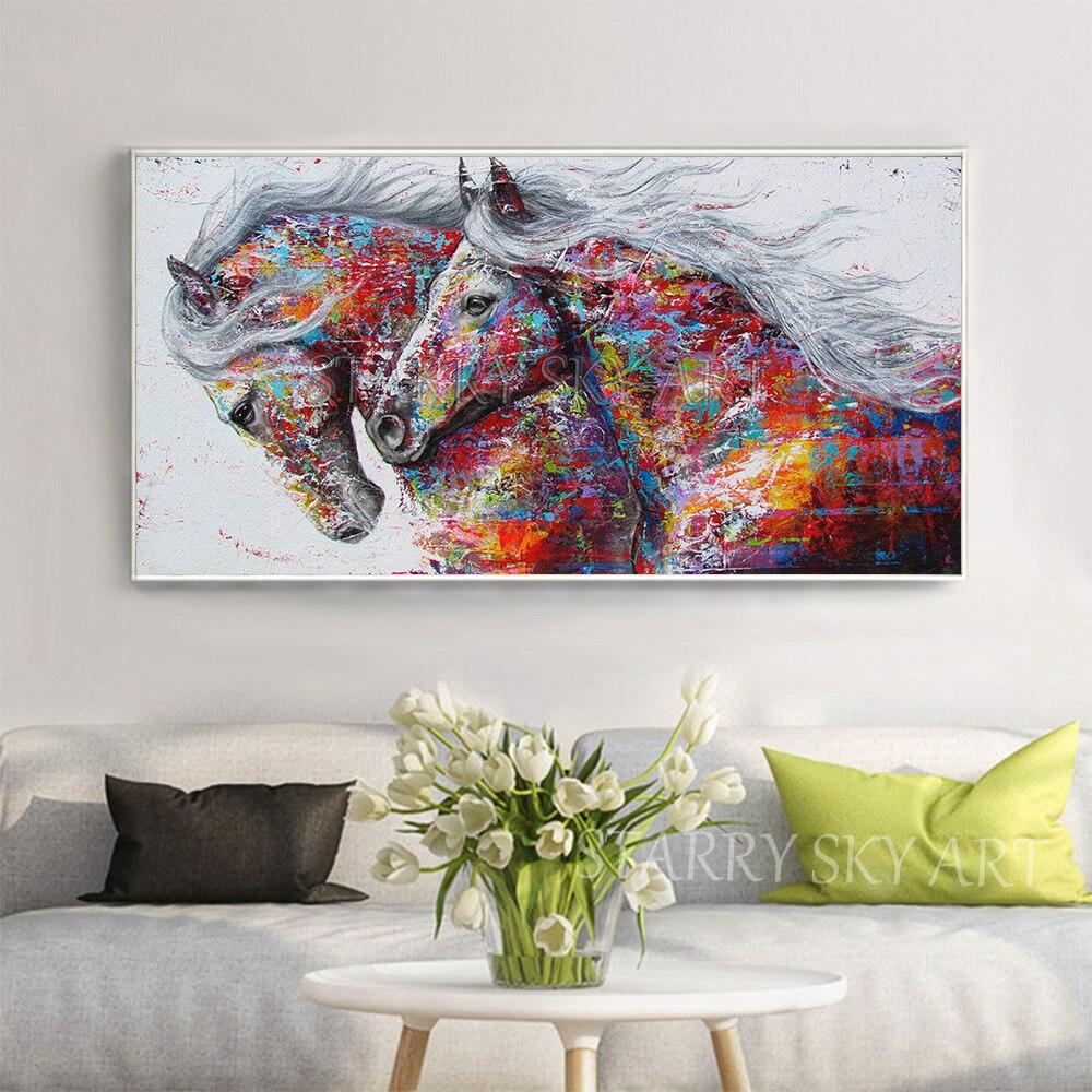 Fashion Design handgeschilderde 2 Paarden Olieverfschilderij Rijke Kleuren Abstract Dier Paard Olieverf voor Muur decoratie - 2