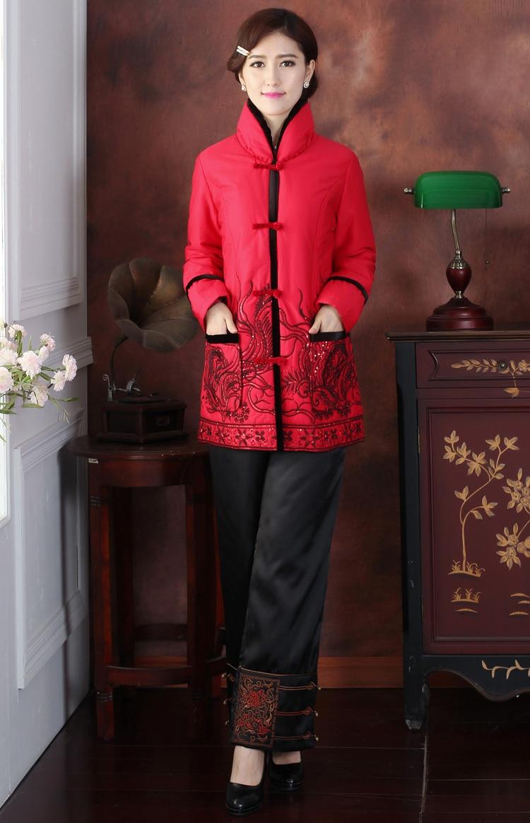 3xl 4xl Fourrure Ouatée L Noir Veste Noir Y08 Xxl M Xl Survêtement De Chinois Gratuite Avec Femmes rouge Satin Livraison Hiver Mode Soie Col En 1PRqv
