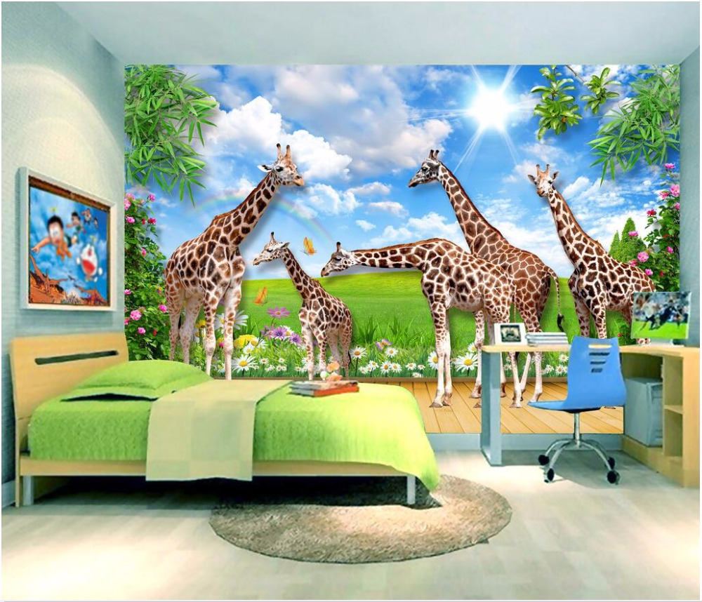 Custom mural photo 3d wall paper picture The giraffe animal world room decor painting 3d wall murals wallpaper for wall 3 d custom photo 3d ceiling murals wall paper blue sky rose flower dove room decor painting 3d wall murals wallpaper for walls 3 d