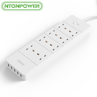 NTONPOWER HPC UK Electrical Plug Socket USB Power Strip 8 AC 3250W Overload Protection 4 Ports 8A USB Charger for Home Appliance