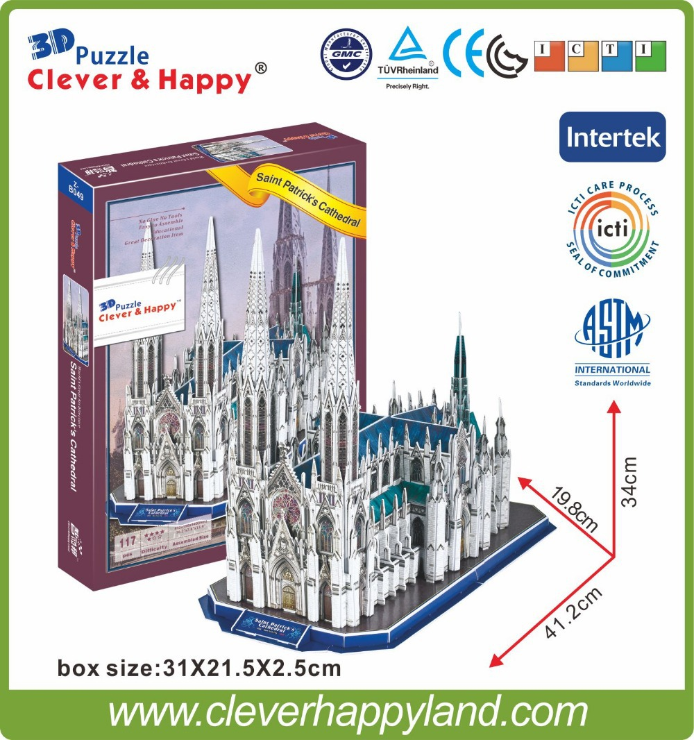 117pcs 3D paper puzzle Saint patrick's cathedral,puzzle game educational for kids various styles hot selling