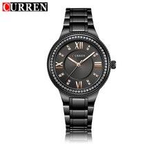 CURREN Для женщин часы класса люкс кристалл Нержавеющаясталь Повседневное модное платье Кварцевые наручные часы женские часы из натуральной 9004