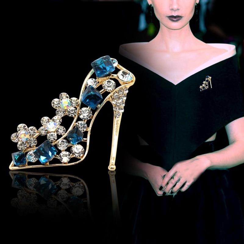 Crystal High Heel Brooch Pin For Women Wedding Bridesmaid Rhinestone Bouquet Brooch Pin Dress Clothing Accessories