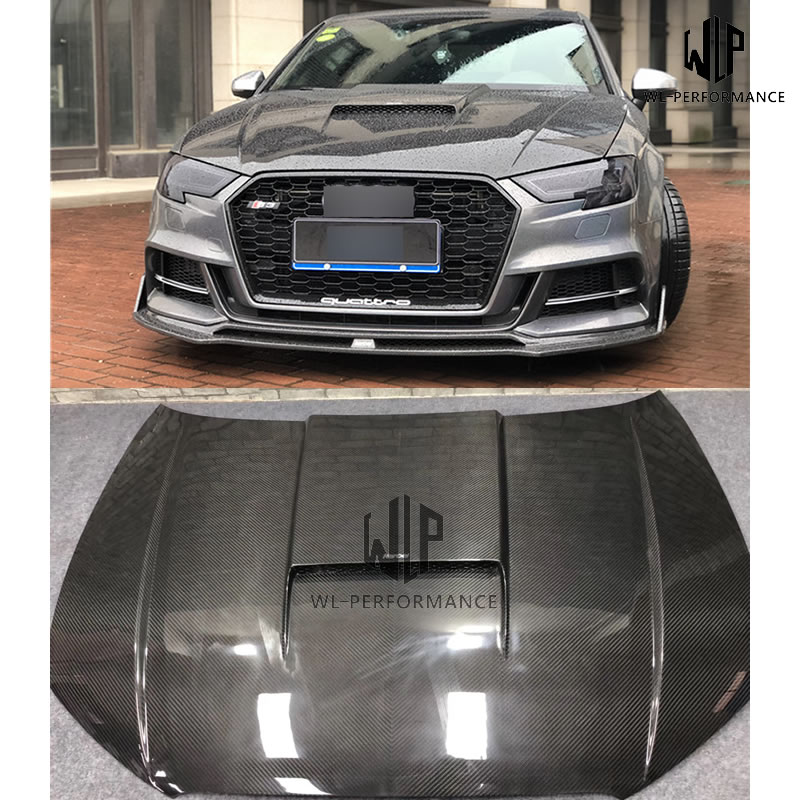 A3 S3 RS3 High Quality Full Carbon Fiber Engine Hood Bonnets Car Styling For Audi A3 S3 RS3 Karbel Style Car Body Kit 17-19