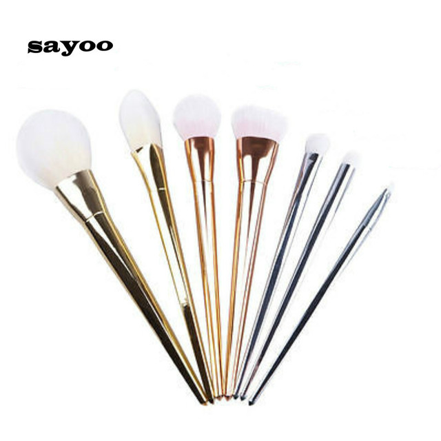 Sayoo New 7pcs Makeup Cosmetic Brushes Set Powder Foundation Eyeshadow Lip Brush Tool