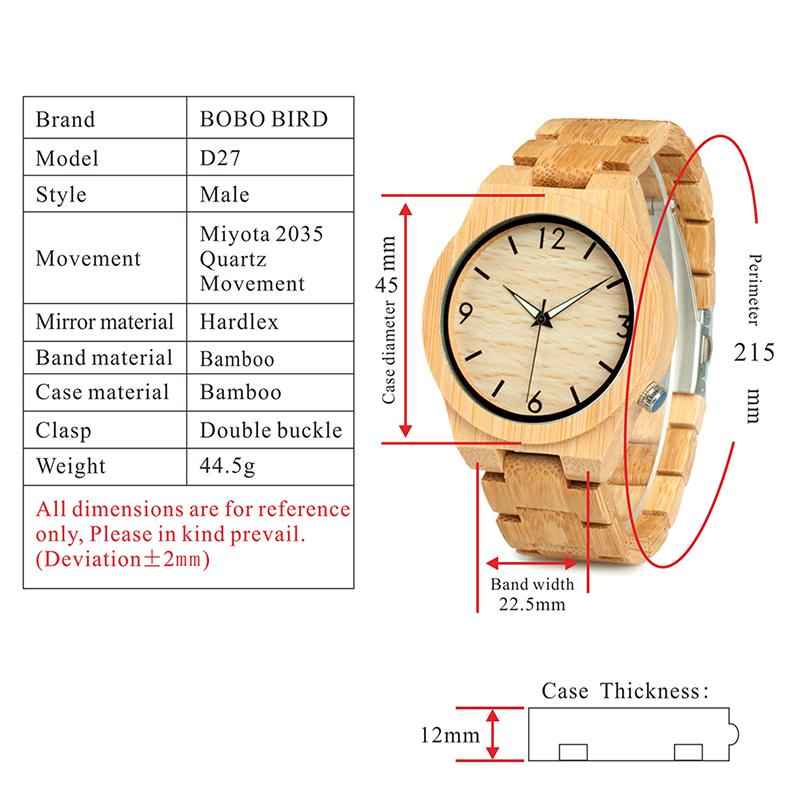 relogio masculino BOBO BIRD Wood Watch Men Top Brand Luxury Wooden Timepieces Great Men's Gift Drop Shipping W-D27 12