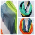 Free Shipping 2016 New Fashion Blue Orange Color Tie Dyed Patchwork Striped Infinity Scarf Loop Scarf Circle