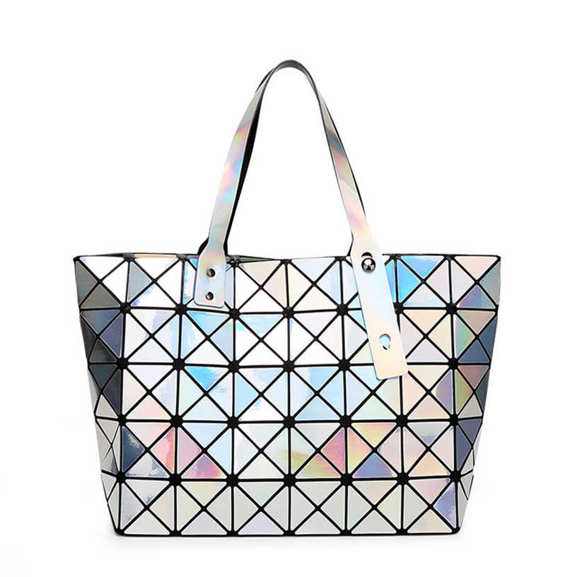 78d04ac68d ... YUTUO Hot Sale Laser Female Fashion Handbags Women Dazzle Color Plaid Tote  Casual Bags Sequins Mirror