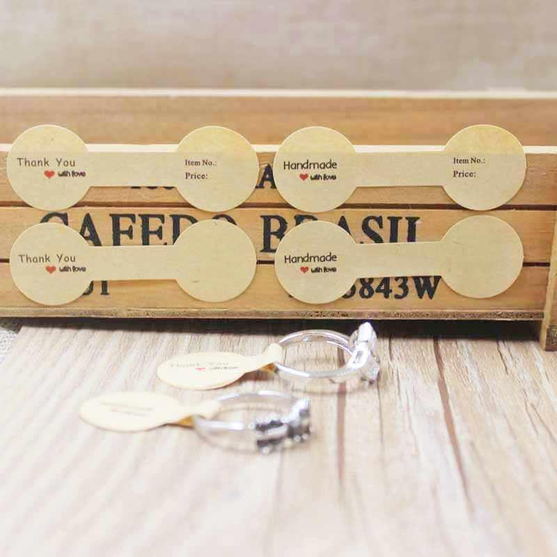 100PCS 멀티 스타일 반지 접힌 된 레이블 화이트/크 래 프 트 손수 사랑 반지 가격 레이블 쥬얼리 태그 스티커 레이블 6*1.2cm