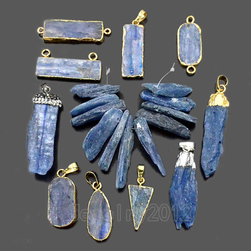 5PCS/Lot Natural Blue Kyanite Gem stone Crystal Point Silver Gold Pendant Connector Beads Diy Jewelry Design Wholesale