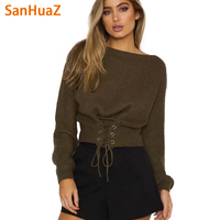 SanHuaZ Brand 2017 Autumn Winter Women S Sweaters Casual O Neck Long Sleeve Slim Lace Up