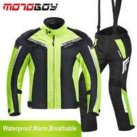New MOTOBOY Men Winter Waterproof Motorcycle Jacket And Moto Pants Motocross Suit Windproof Body Protection Clothing