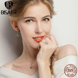 Image 5 - BISAER 925 argent Sterling mignon Orange abeille animaux pendentifs colliers et boucles doreilles et bague mode Zircon Dubai bijoux ensembles
