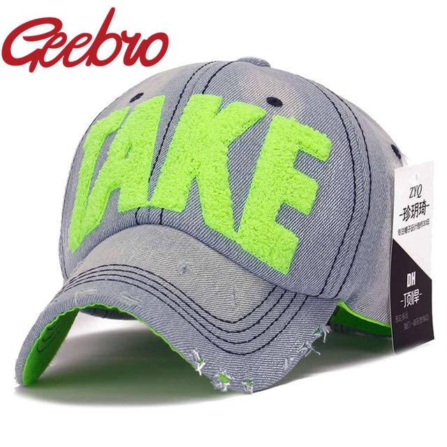 a87d9fdba69 Online Shop 2017 TAKE Embroidery Womens Denim Baseball Caps Summer ...