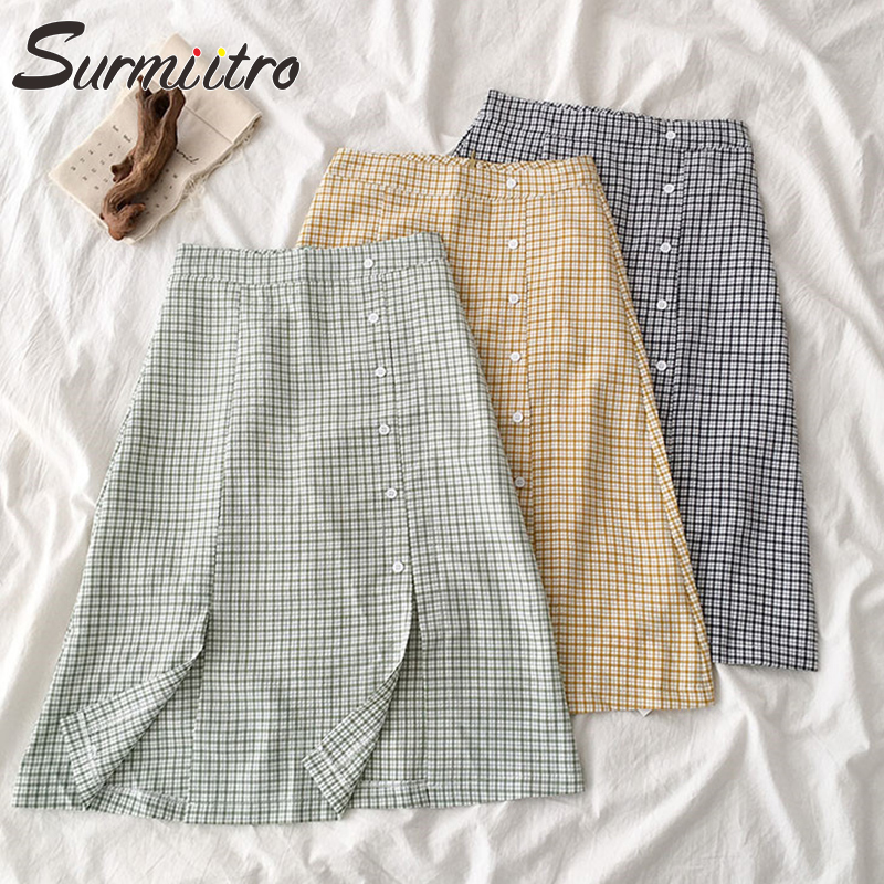 Surmiitro Plaid Midi Skirt Women 2020 Summer Fashion Korean Ladies Slit High Waist Black Green Sun School Skirt Female