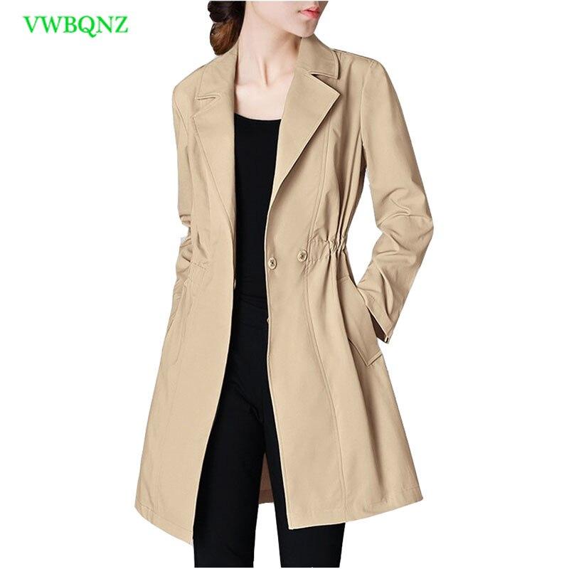Spring New Women Temperament Windbreaker coat Women's Slim Suit collar Long   Trench   Coats High quality Thin Casual Top coats A157