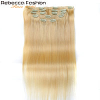 Rebecca Hair 7Pcs In Human Hair Extensions Straight Remy Hair Clip Blonde Color#613 Full Head 7Pcs Per Set Remy Hair Weaves
